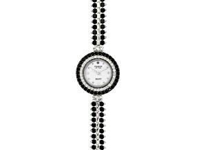 9.75ctw Round Black Spinel & 1.15ctw Round White Zircon Sterling Silver Watch