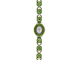 11.15ctw Round Chrome Diopside Sterling Silver White Watch