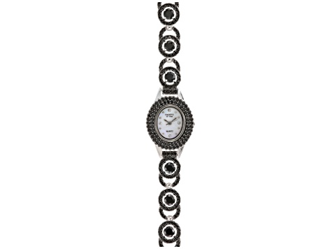 8.65ctw Round Black Spinel Sterling mother-of-pearl Watch