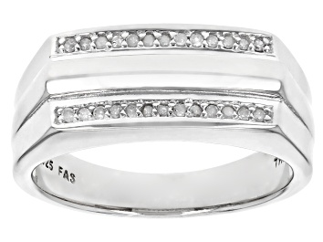 Picture of White Diamond Rhodium Over Sterling Silver Mens Ring 0.13ctw