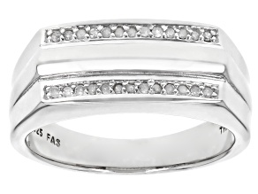 White Diamond Rhodium Over Sterling Silver Mens Ring 0.13ctw