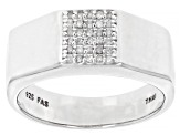White Diamond Rhodium Over Sterling Silver Mens Ring 0.15ctw