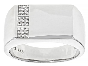 White Diamond Accent Rhodium Over Sterling Silver Mens Ring
