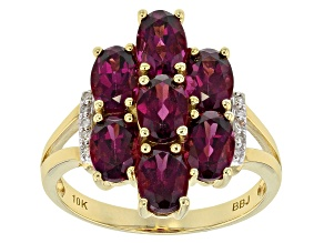 Grape Color Garnet 10k Yellow Gold Ring 3.56ctw