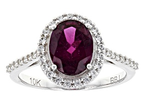 Grape Color Garnet 10k White Gold Ring 2.17ctw
