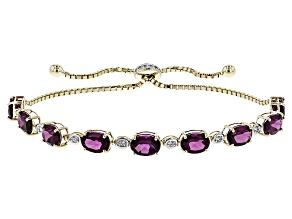 Grape Color Garnet 10k Gold Sliding Adjustable Bracelet 7.25ctw