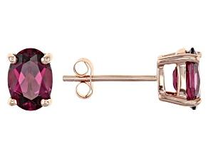 Grape Color Garnet 10k Rose Gold Stud Earrings 1.70ctw