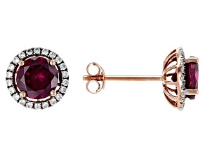 Grape Color Garnet 10k Rose Gold Earrings 2.16ctw
