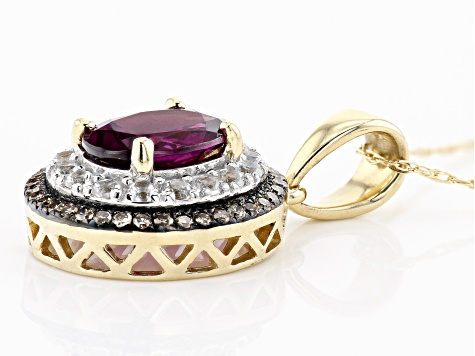 Grape Color Garnet 10k Yellow Gold Pendant With Chain 1.69ctw