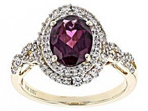 Grape Color Garnet 10k Yellow Gold Ring 2.73ctw