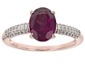 Grape Color Garnet 10k Rose Gold Ring 2.35ctw