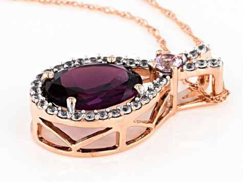 Grape Color Garnet 10k Rose Gold Pendant With Chain 2.05ctw