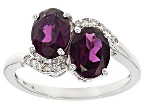 Grape Color Garnet Rhodium Over 10k White Gold Ring 2.85ctw