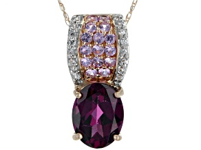 Grape Color Garnet 10k Rose Gold Pendant With Chain 2.10ctw
