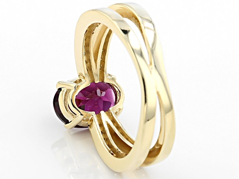 Grape Color Garnet 10k Yellow Gold Ring 1.97ctw.