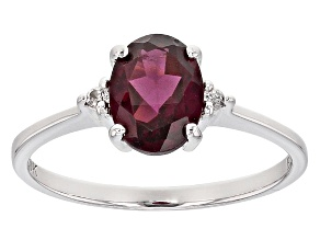 Grape Color Garnet 10k White Gold Ring 1.22ctw