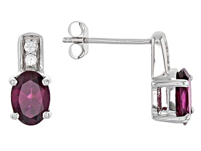 Grape Color Garnet 10k White Gold Earrings 1.68ctw