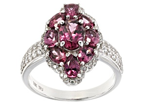 Grape Color Garnet 10k White Gold Ring 2.13ctw