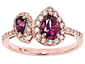 Grape Color Garnet 10k Rose Gold Ring 1.27ctw