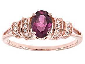 Grape Color Garnet 10k Rose Gold Ring .83ctw