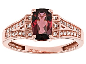 Grape Color Garnet 10k Rose Gold Ring 1.26ctw