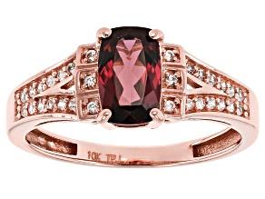 Grape Color Garnet 10k Rose Gold Ring 1.26ctw