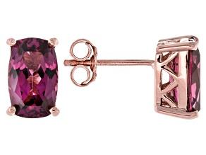Grape Color Garnet 10k Rose Gold Stud Earrings 2.20ctw