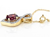 Grape Color Garnet 10k Gold Pendant With Chain .91ctw