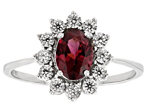 Grape Color Garnet White Zircon 10k White Gold Ring 1.35ctw