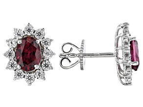 Grape Color Garnet 10k White Gold Earrings 2.70ctw