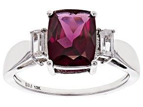 Grape Color Garnet 10k White Gold Ring 2.85ctw