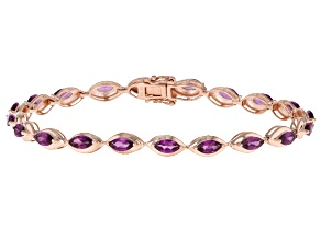 Grape Color Garnet 10k Rose Gold Bracelet 5.40ctw
