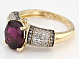 Grape Color Garnet 10k Yellow Gold Ring 2.90ctw