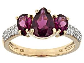 Grape Color Garnet 10k Yellow Gold Ring 2.50ctw
