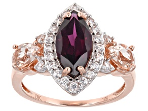 Grape Color Garnet 10k Rose Gold Ring 3.02ctw
