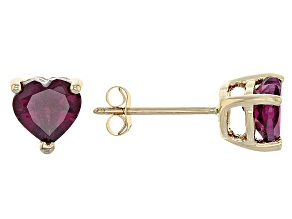 Grape Color Garnet 10k Yellow Gold Stud Earrings 1.70ctw