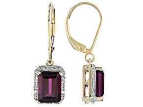 Grape Color Garnet 10k Yellow Gold Earrings 3.25ctw