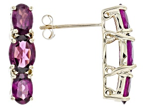 Grape Color Garnet 10k Yellow Gold Earrings 3.51ctw.