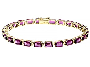 Grape Color Garnet 10k Yellow Gold Bracelet 14.28ctw