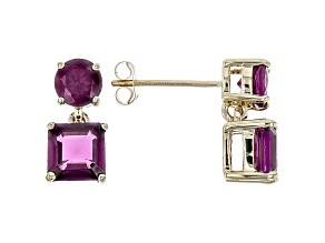 Grape Color Garnet 10k Yellow Gold Earrings 3.62ctw