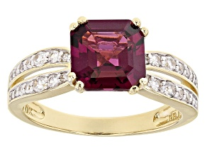 Grape Color Garnet 10k Yellow Gold Ring 2.94ctw