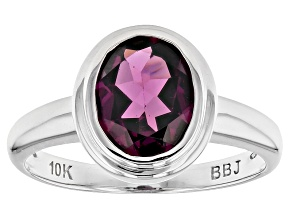 Grape Color Garnet 10k White Gold Ring 1.70ct