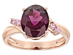 Grape Color Garnet 10k Rose Gold Ring 2.86ctw