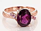 Grape Color Garnet 10k Rose Gold Ring 2.86ctw