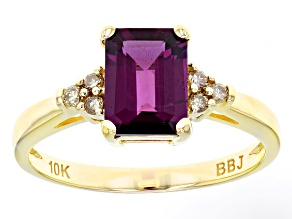 Grape Color Garnet 10k Yellow Gold Ring 1.65ctw