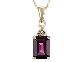 Grape Color Garnet 10k Gold Pendant With Chain 1.61ctw