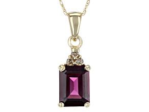 Grape Color Garnet 10k Gold Pendant With Chain 1.61ctw