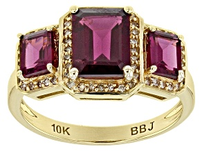 Grape Color Garnet 10k Yellow Gold Ring 2.70ctw
