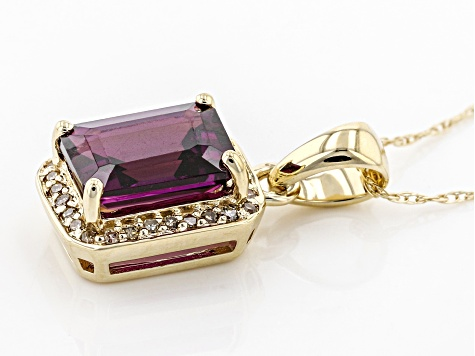 Grape Color Garnet 10k  Yellow Gold Pendant With Chain 1.65ctw