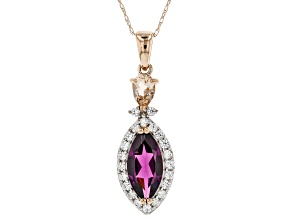 Grape Color Garnet 10k Rose Gold Pendant With Chain 2.68ctw